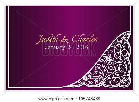 Fuchsia Wedding Announcement With White Floral Lace