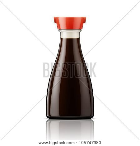 Glass soy sauce bottle with red cap.