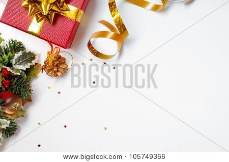 Gift Ribbon And Floral Christmas Decoration To The Left Diagonal
