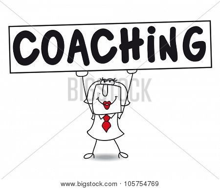 Coaching expert. Stick figure woman holds Coaching sign, personal development
