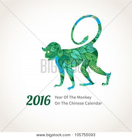 Vector Illustration Of Monkey, Symbol Of 2016.