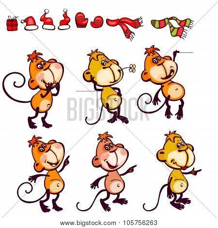 Set chinese zodiac postcard monkey
