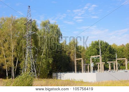 Electric Substation And Line Support In The Forest