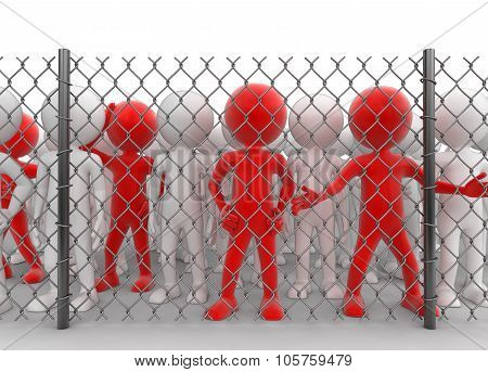 Chainlink fence and People