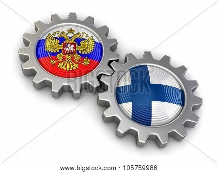 Russian and Finnish flags on a gears (clipping path included)