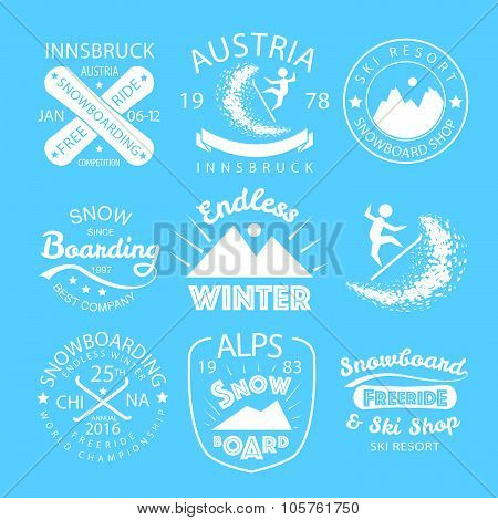 Snowboarding - flat linear design style sport vector typography icon/badge set. Snowboarding posters with boards for postcard logotype or banner template. Snowboard team company shop logotype set. poster
