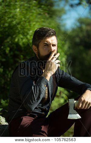 Smoking Man With Axe