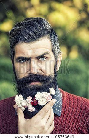 Man With Flowers On Beard
