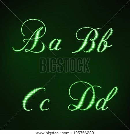 illustration of green stars style of letters ABCD