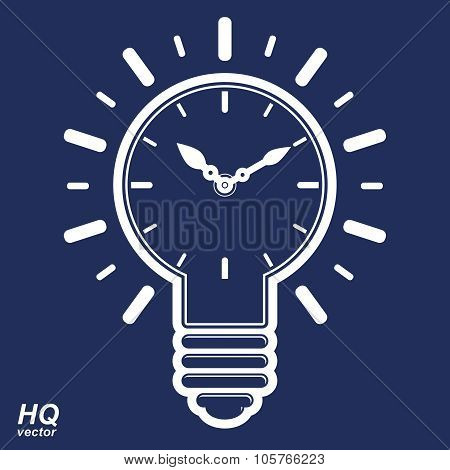 Vector Timer And A Electricity Light Bulb Sign, Brain Storm Conceptual Icon, Corporate Problem Solu
