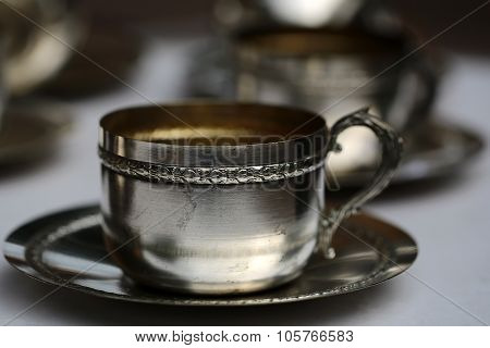 Silver Tea Cup With Saucer