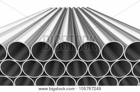 Shiny Steel Pipes Isolated On White