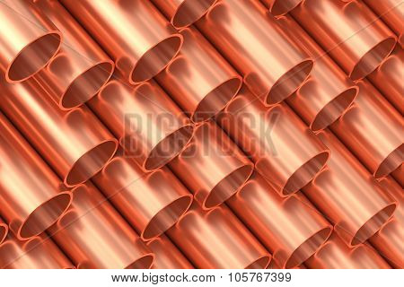Heavy metallurgical industry production and non-ferrous industrial products creative abstract illustration: many stainless metal shiny copper pipes lying in rows creative industrial background poster