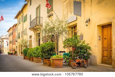 Beautiful Street Of San Quirico Dorcia, Tuscany