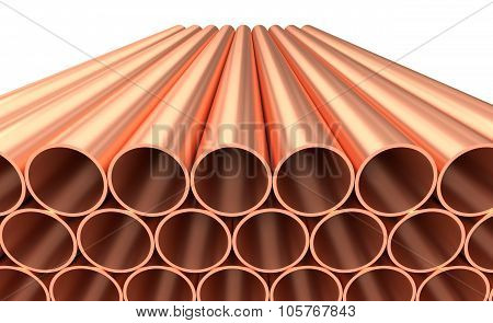 Shiny Copper Pipes In Rows Isolated On White