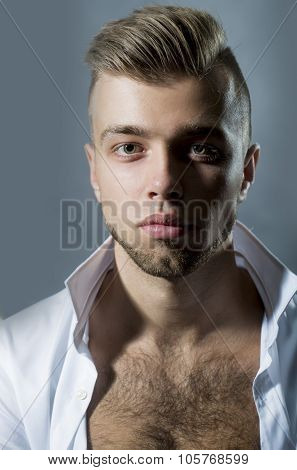 Young Sensual Bearded Unbuttoned Man