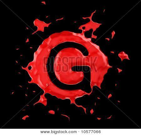 Red Blob G Letter Over Black Background