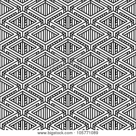 Seamless optical ornamental pattern with three-dimensional geometric figures. Intertwine black and white composition. poster