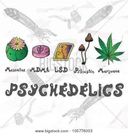 Psychedelics set. Hand drawn elements vector illustration. poster