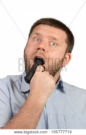 Man with gun in his mouth