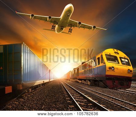 Industry Container Trainst Running On Railways Track And Cargo Freight Plane Flying Above Against Be