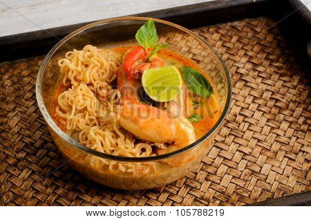 Thai Cuisine Tom Yum Goong With Instant Noodle