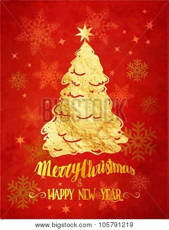 Golden Christmas - Merry Christmas and Happy New Year red greeting card with gold foil Christmas tree, handwritten greetings and background covered with snowflakes