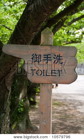 Wooden Finger Style Sign Pointing To Toilets