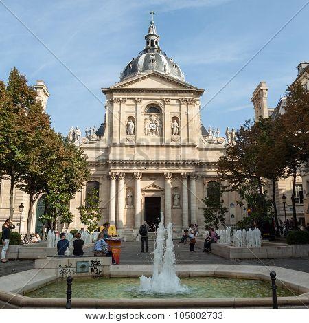 PARIS, FRANCE - SEPTEMBER 8, 2014: Fountains at Place de la Sorbonne. Paris France