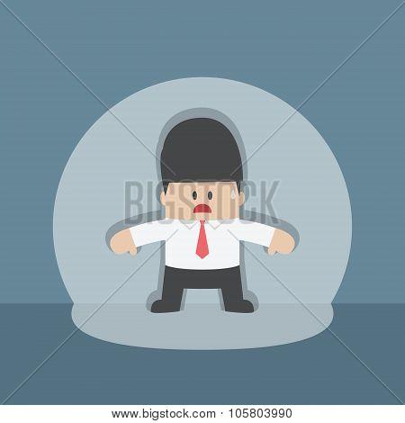 Businessman Caught In Spotlight Beam