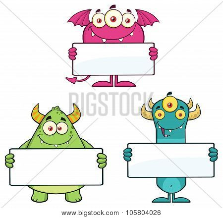 Goofy Monsters Holding A Blank Sign