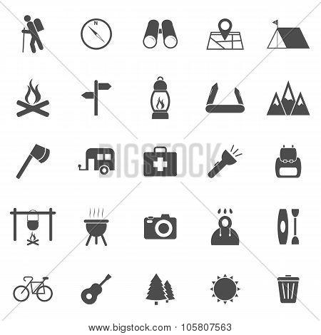 Trekking Icons On White Background