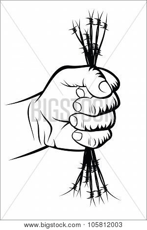 Fist and barbed wire