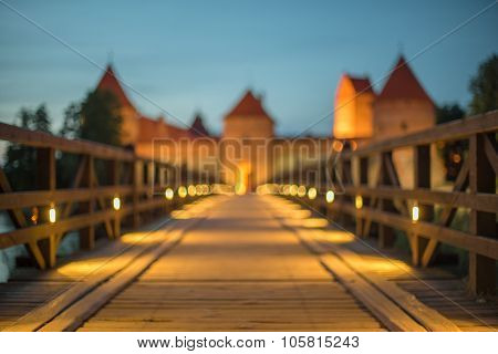 Lens blur of famous Trakai Island Castle in Lithuania next to Vilnius. Landmark in historical capital city of Grand Duchy of Lithuania, located in Galve lake