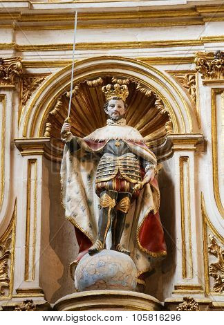 Statue Of Spanish Emperor Carlos I In The Cathedral Of Burgos, Spain