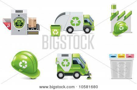 Vector trash recycling icon set