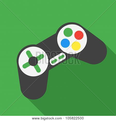 Vector illustration of joystick. Flat style design. poster