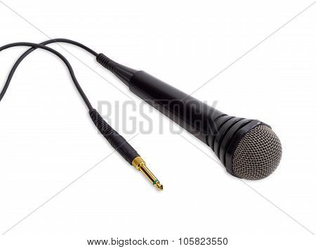 Black Dynamic Microphone On A Light Background