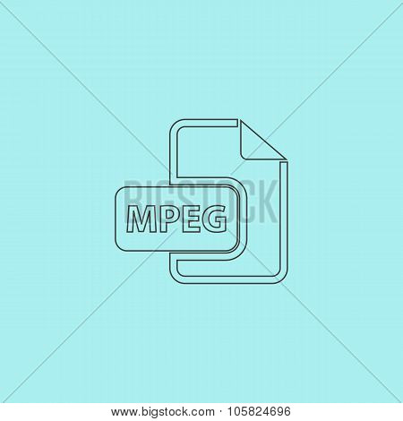MPEG video file extension icon vector.