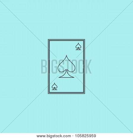 Spades card. Simple outline flat vector icon isolated on blue background poster