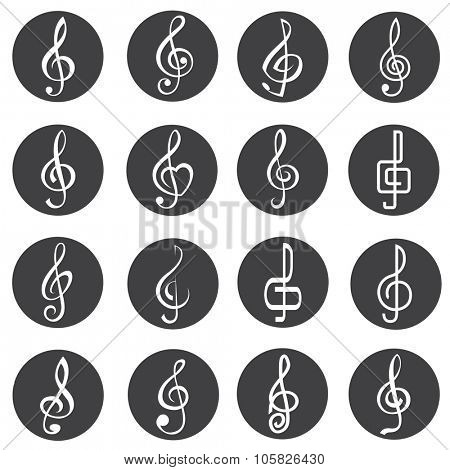 set of sixteen treble clef icons