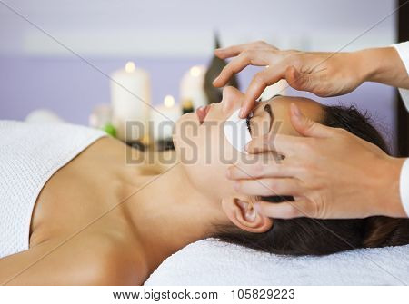 Beautiful Woman With Mask For Eyes At Beauty Salon