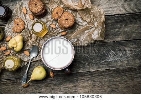 Ears Cookies Almonds And Milk On Wood