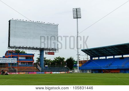Pat Football Stadium With Blank Billboard