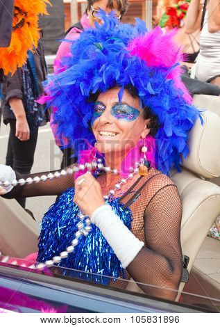 Corralejo - March 17: Cross-dressed Participant At The Assembly Point For Grand Carnival Parade, Mar