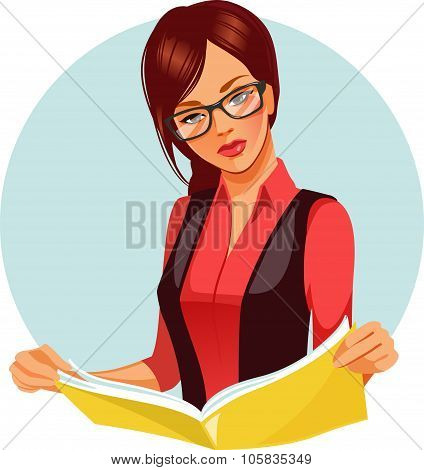 Woman reading magazine.