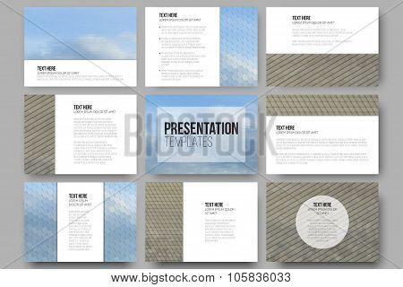 Set of 9 templates for presentation slides. Dry land and blue sky with clouds. Abstract multicolored