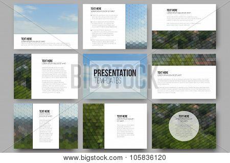 Set of 9 templates for presentation slides. Nature landscape. Abstract multicolored backgrounds. Nat
