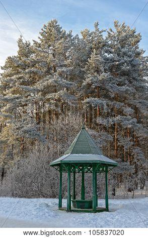 Wooden Arbour In Winter Garden