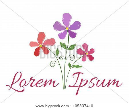 Brush paint flowers